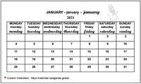 June 2021 calendar for primary schools