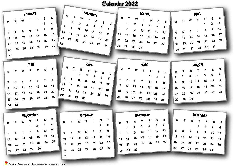 Calendar 2022 annual 3D pell-mell