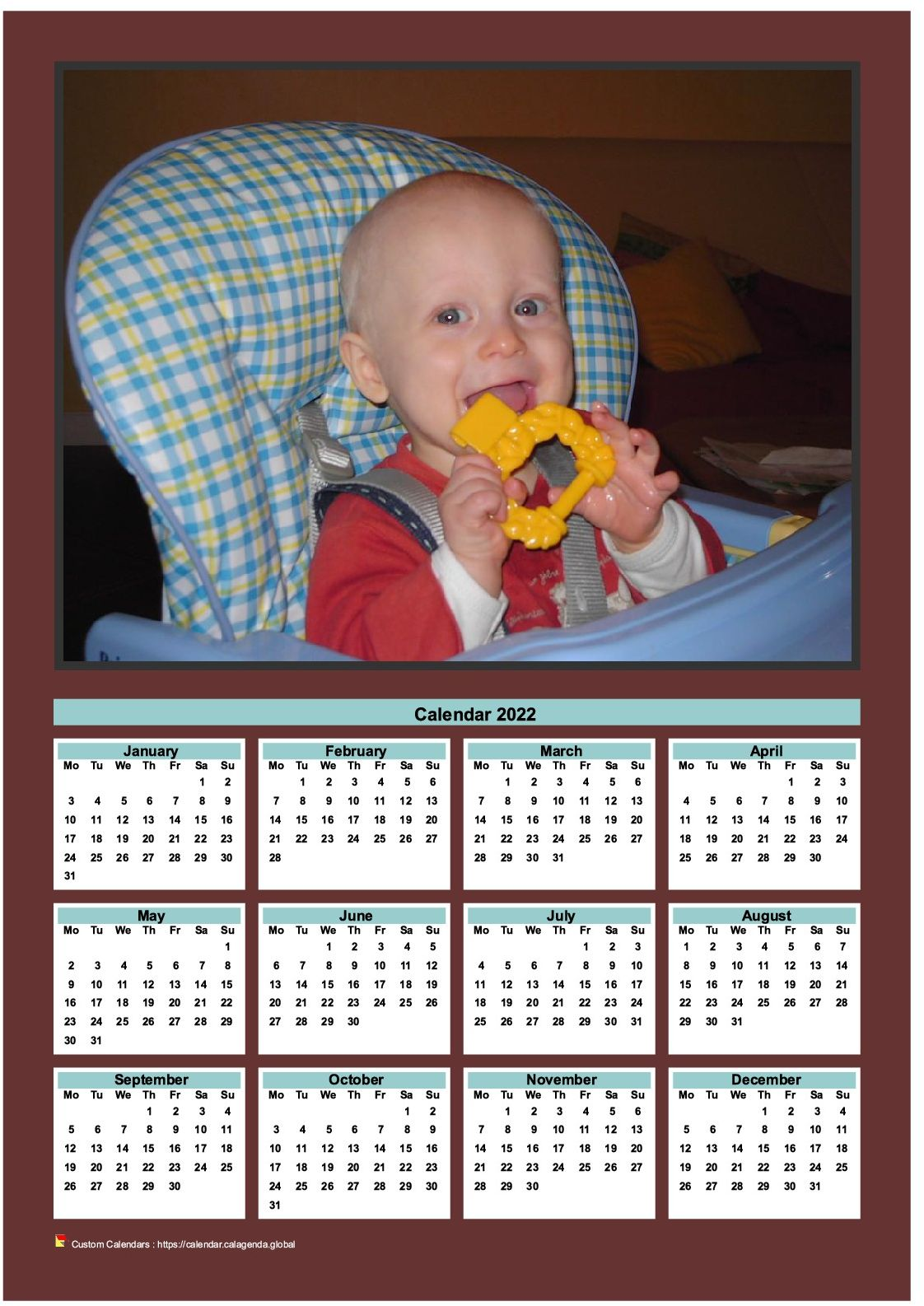 Calendar 2022 annual to print with family photo