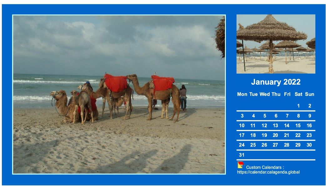 Calendar monthly 2022 with two photos