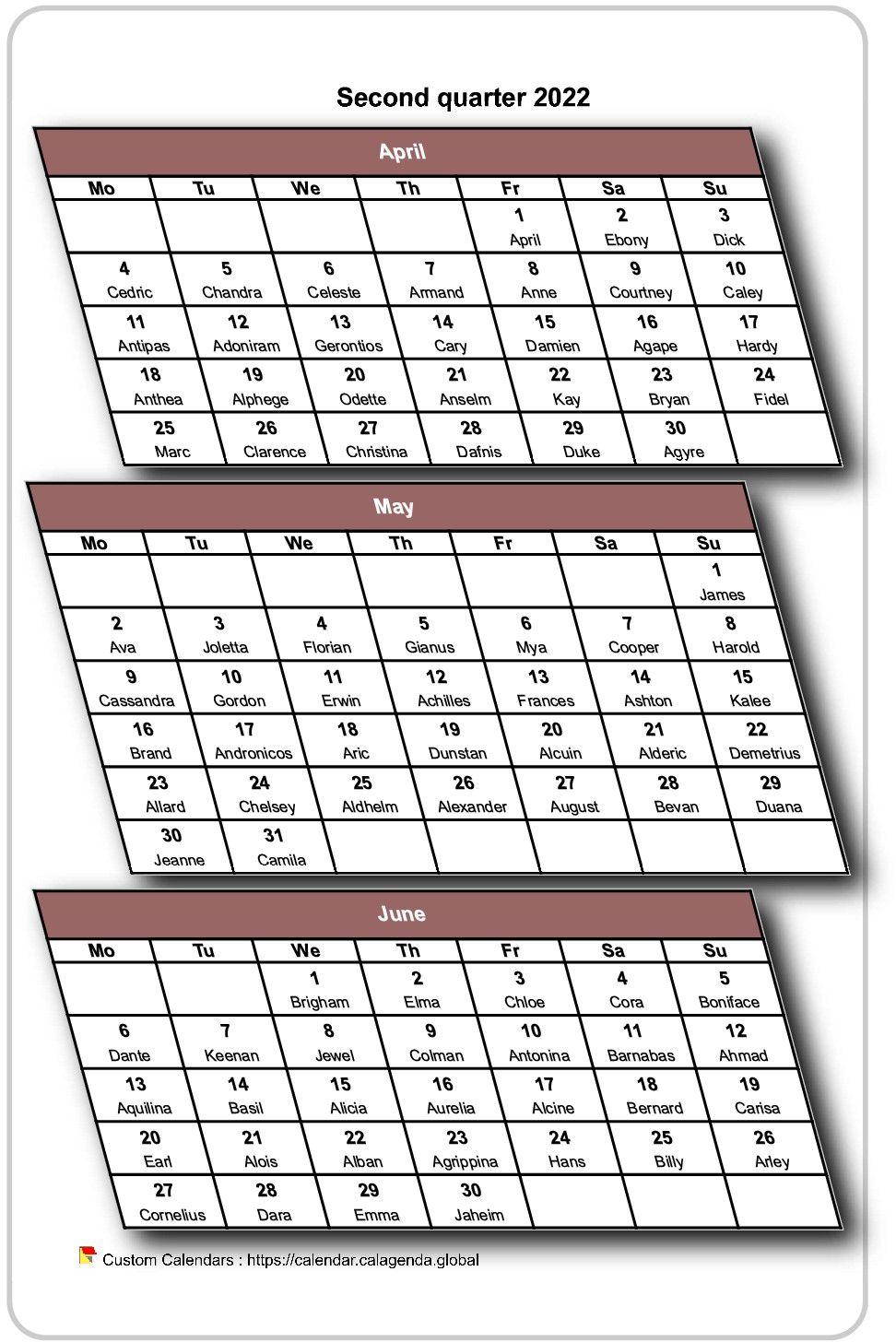 Calendar 2022 Quarterly 3d