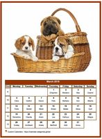 March 2023 calendar of serie 'dogs'