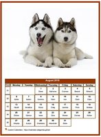 August 2023 calendar of serie 'dogs'