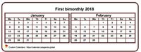 Two months calendar 2023 mini white